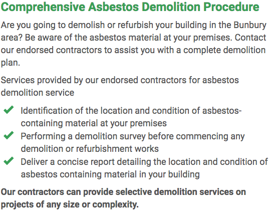Asbestos Watch Bunbury - demolition right