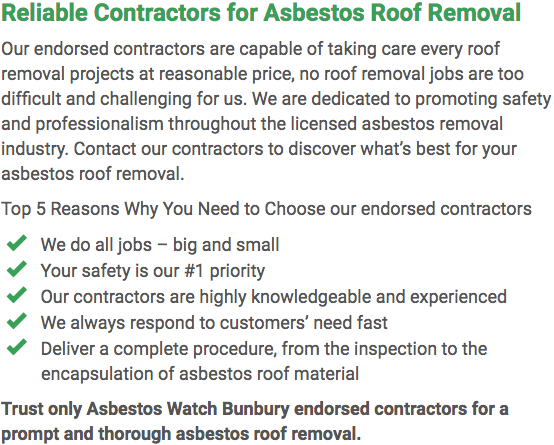 Asbestos Watch Bunbury - roof removal left